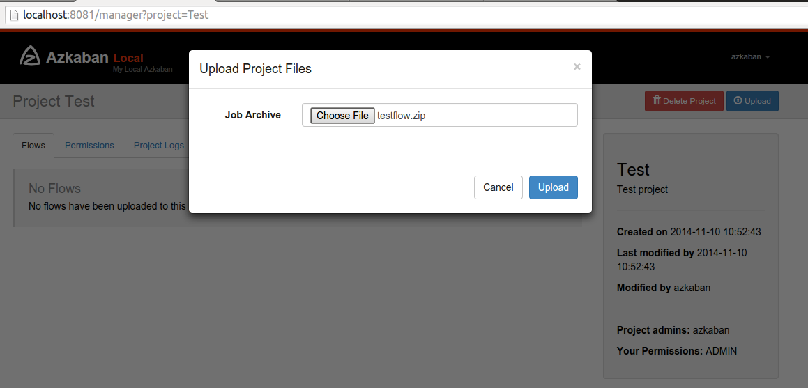 Upload project files